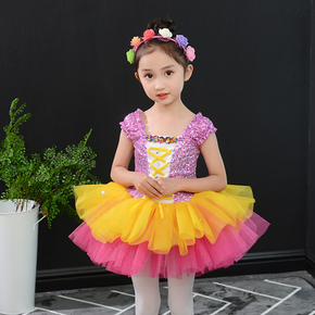 girls princess ballet chorus dresses Children's show dress sequined princess skirt fluffy yarn modern dance dress kindergarten jazz dance performance Costume