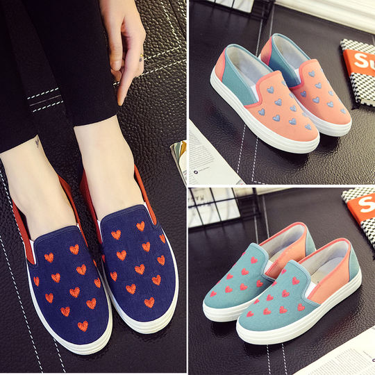 Spring new canvas shoes women's shoes students single shoes Lok Fu shoes one foot slip flat female casual lazy shoes