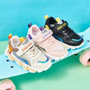 夏季男童鞋子2019新款秋款女孩中大童透气网面秋款儿童老爹运动鞋