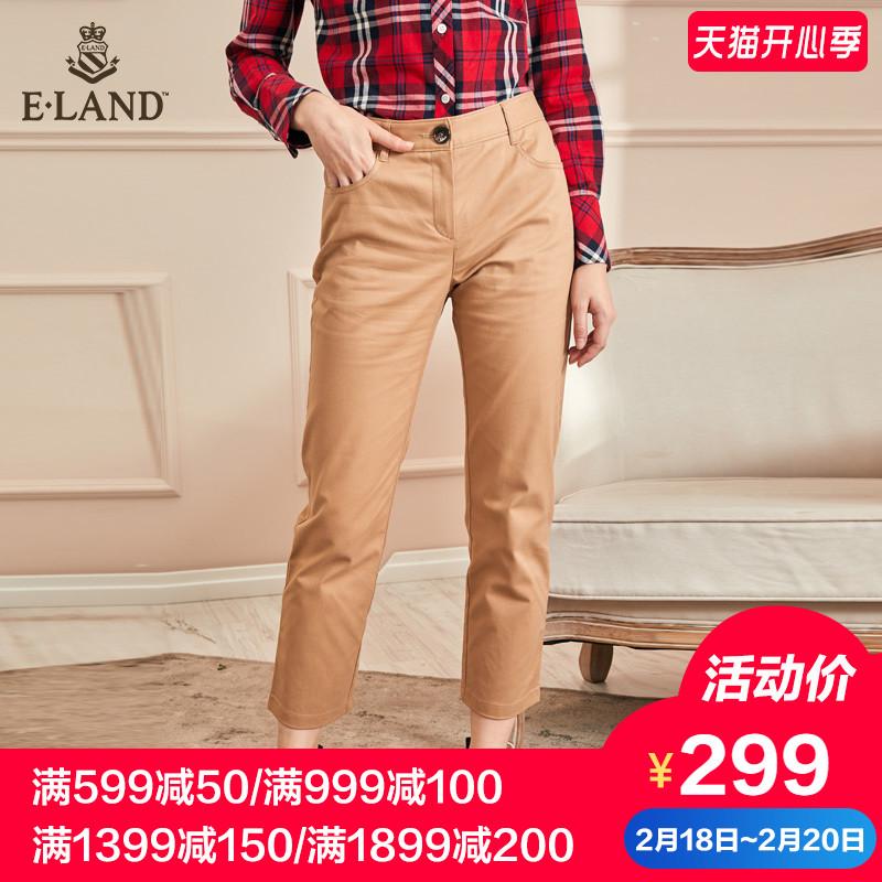 ELAND2018秋新款纯色直筒刺绣点缀休闲9分裤休闲裤子女EETC88T01I
