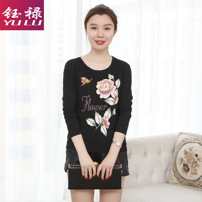 Yulu Modal spring and autumn loaded middle-aged women's T-shirt long-sleeved loose mother wear bottoming shirt ladies shirt