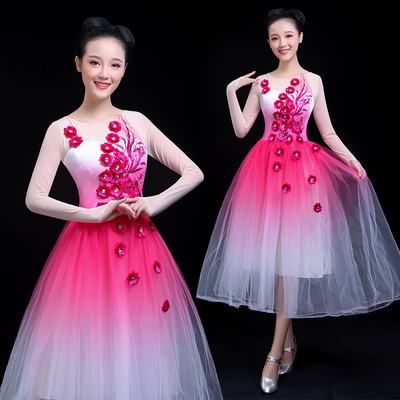 Chinese Folk Dance Costume Opening Classical Dance Performance Dress Singing and Dancing Chorus Dress Ethnic Dance Dress Chinese Style Adults