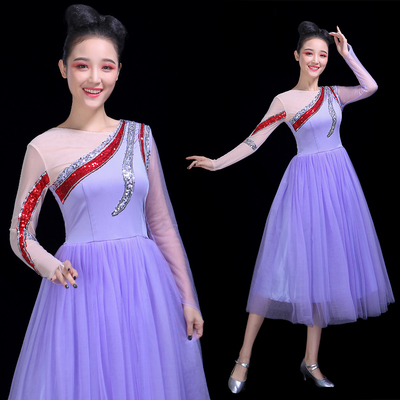 Chinese Folk Dance Costume Opening Dance Big Dress Female Adult Atmospheric Modern Dance Dress Singing and Dancing Skirt Mid-long Performance Dress