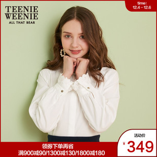 TEENIEWEENIE Bear 2019 spring new women's small fresh lace lace neckline long sleeve shirt