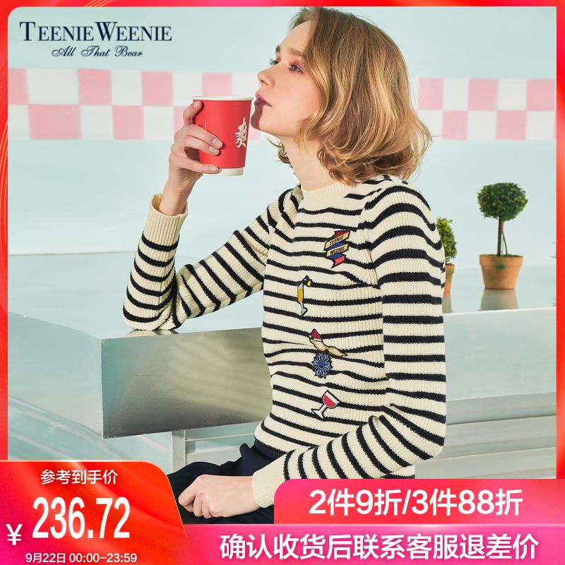 TeenieWeenie小熊自拍春装套头女装神器条纹针织衫TTKW8519285192I