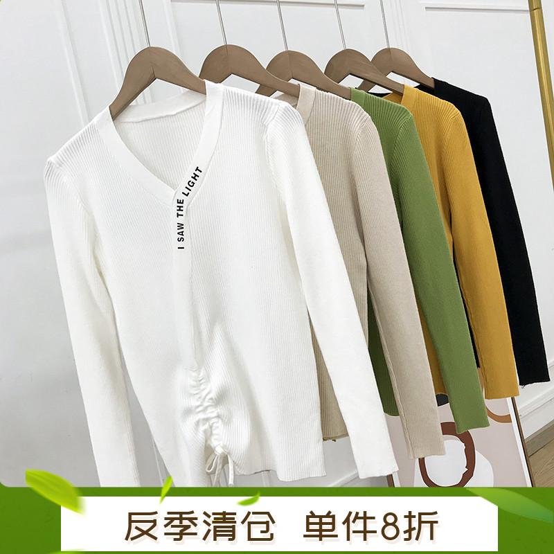 【单件8折】韩版套头针织衫修身长袖V领毛衣女上衣 I10C1
