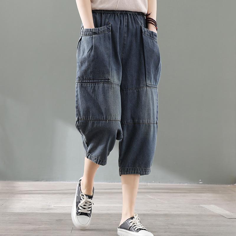 拼接做旧大萝卜牛仔裤女夏季复古七分松紧裤宽松大码口袋腰薄垮裤