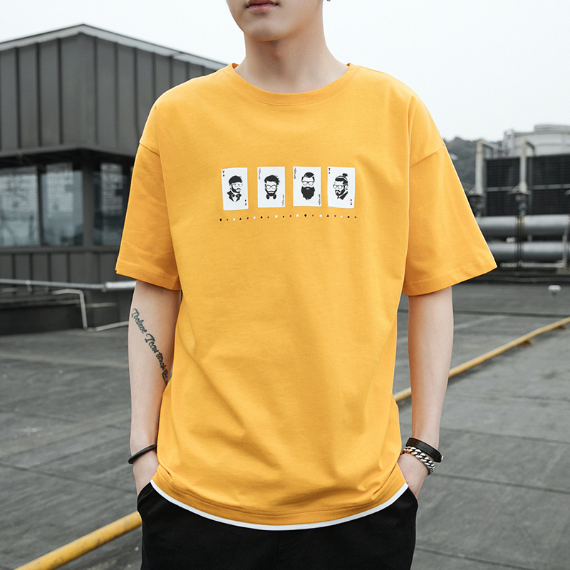 t-shirt men's short-sleeved summer 2019 new trend loose cotton personality printing half-sleeved clothes compassionate summer tide
