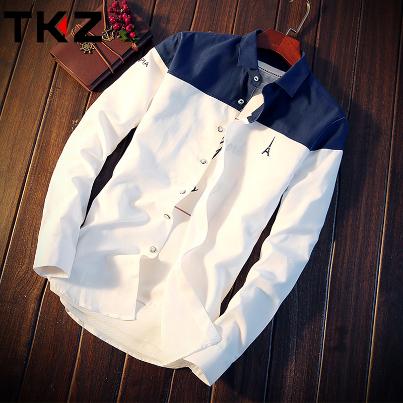 Spring and autumn men's long-sleeved shirt Korean slim casual shirt trend handsome shirt jacket Japanese autumn