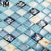 Shell Mediterranean Blue Mosaic TV background wall bathroom pool