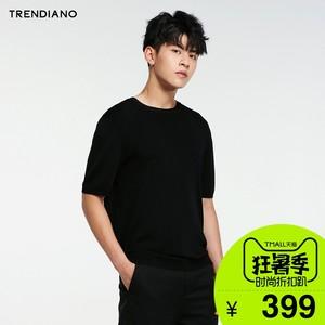TRENDIANO mới 2018 nam mùa hè ăn mặc màu rắn vòng cổ ngắn tay áo len áo thun giản dị 3GE2030900