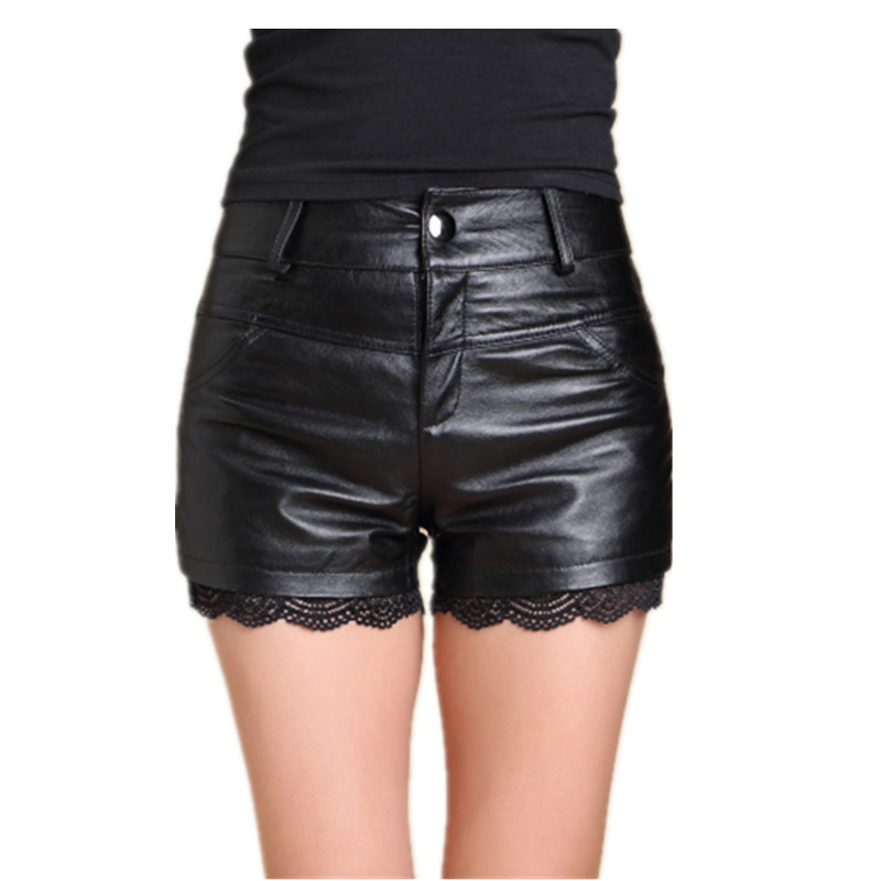 fbd401712dc1da 2018 new leather shorts women's sexy leather hot pants sheep leather pants  lace leather pants black leather pants