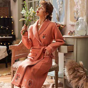 睡衣女秋冬季長袖純棉夾層家居服可愛韓版加厚保暖加長睡袍