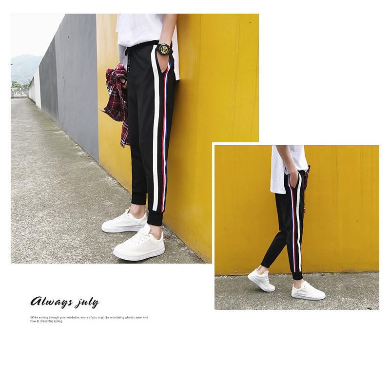 Sọc quần bó sát nam cắt quần mùa hè phần mỏng nam quần âu Hàn Quốc phiên bản của xu hướng khâu chùm chân hậu cung quần