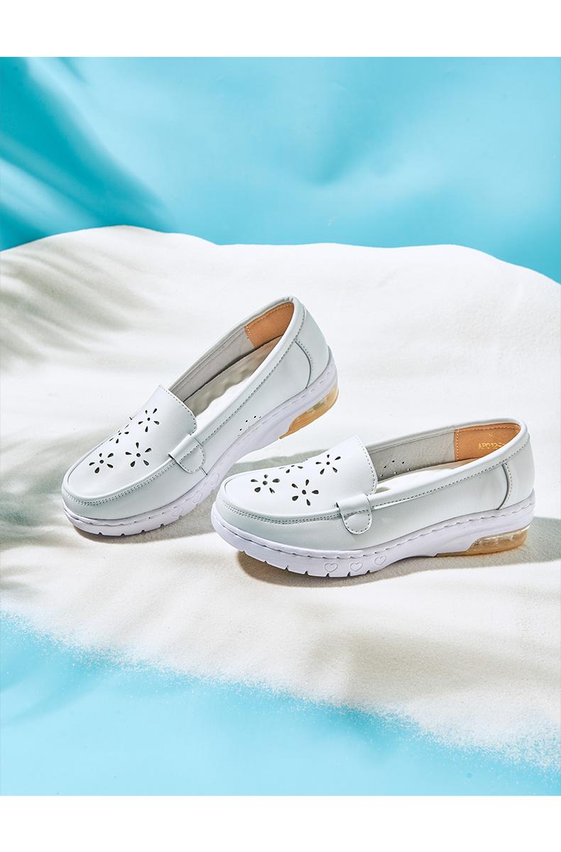 giày y tá trắng nữ khử mùi thở thoải mái mềm-đế da đệm phẳng mới nặng có đáy tăng mùa hè không phải là chân mệt mỏi