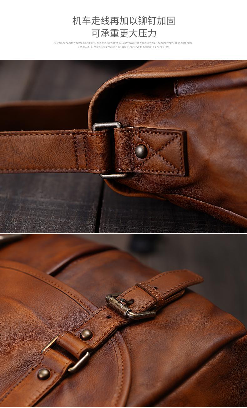 阿南真皮皮包復古手工男包原創男士歐美郵差包頭層牛皮做舊單肩斜挎包休閒背包