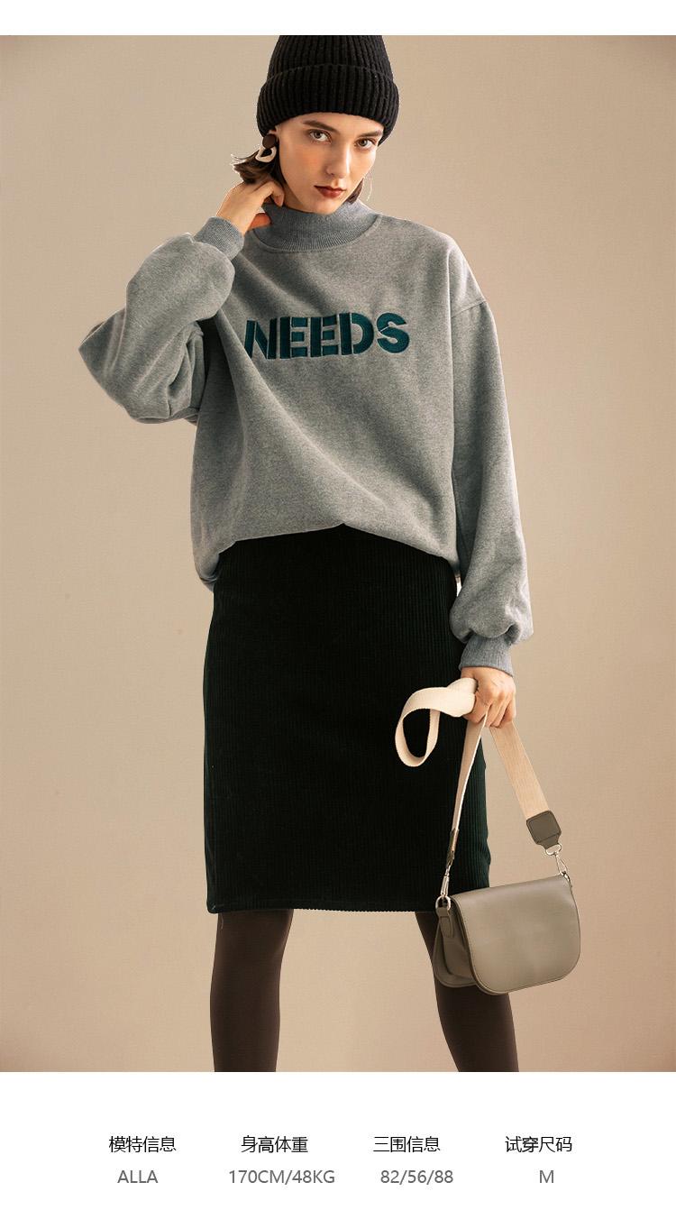 女装韩版落肩袖套头衫宽鬆字母印花半高领加绒卫衣女详细照片