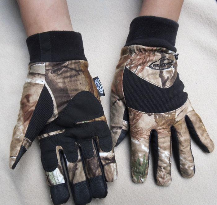 户外运动a男士男士秋冬季加绒防寒迷彩仿生打猎手套登山骑行手套