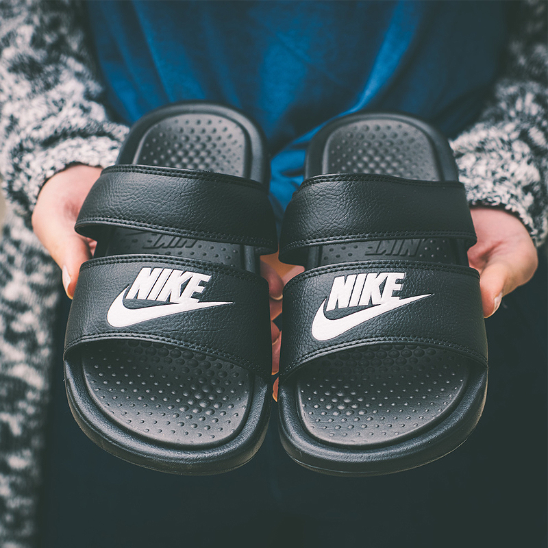 1e3206253b0c NIKE BENASSI black and white ninja double strap sandals men and women  couple beach sports slippers