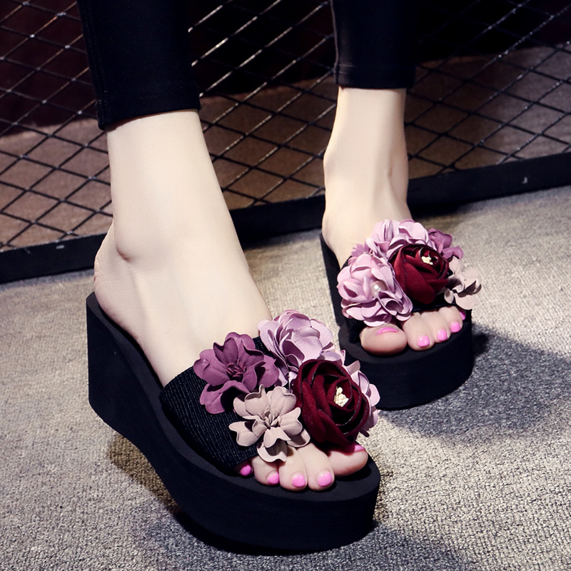 30dfe1b39aab99 Slope with female summer fashion wear Korean version of the high-heeled  slippers sweet flower sandals non-slip thick sandals