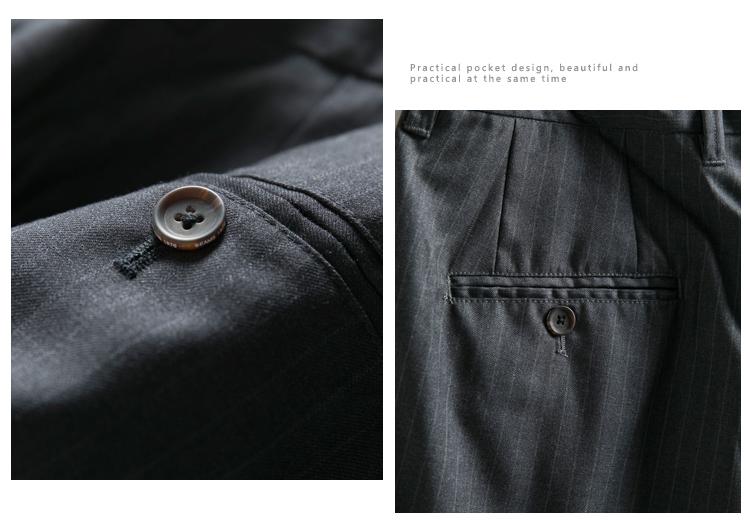 Retro phù hợp với quần short nam quần phần mỏng treo lên vải xếp li quần nam Nhật Bản sọc dọc vành đai năm quần nam