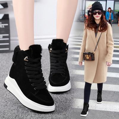 街舞鞋高帮运动女2019新款韩版小黑鞋坡跟嘻哈街拍透气短靴马丁靴