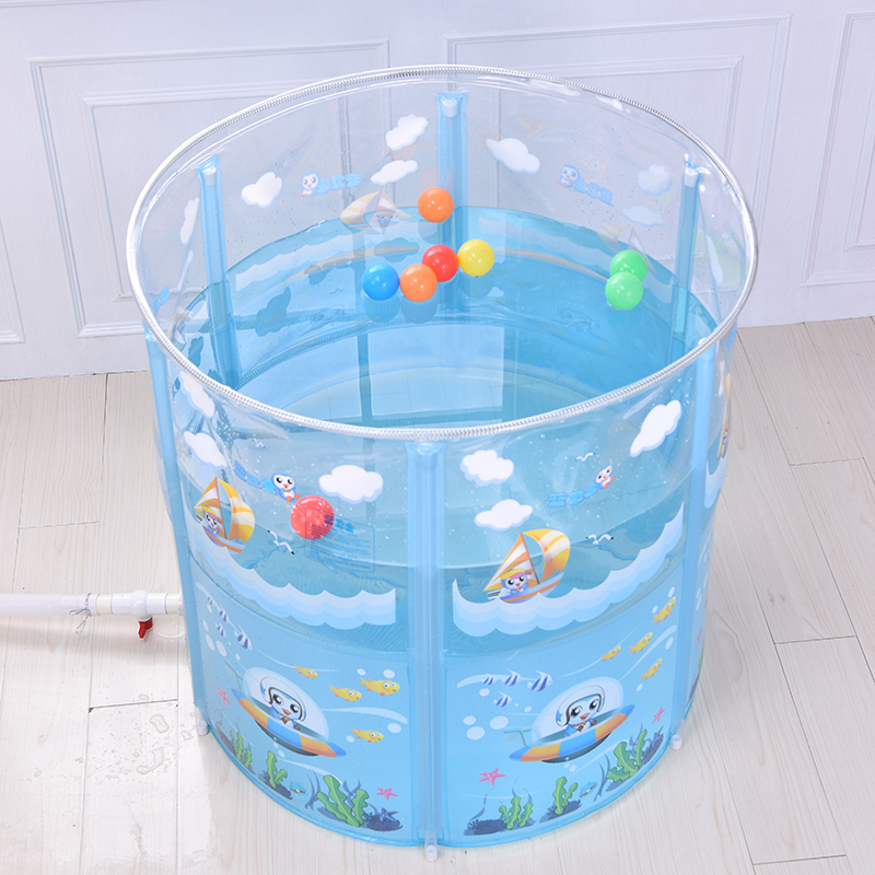 Blue guard baby swimming pool home folding children baby bath barrel ...