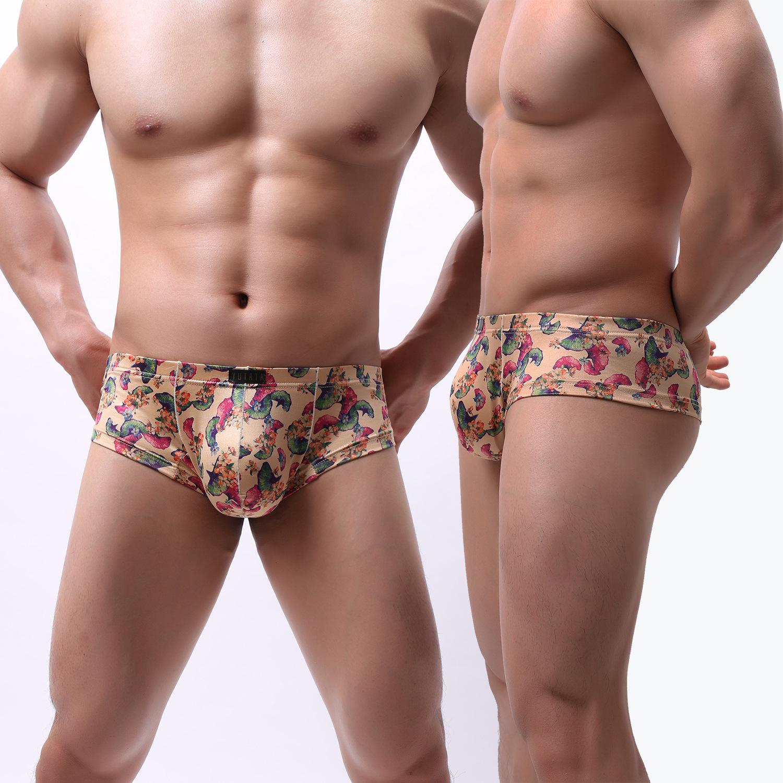 Nhỏ phẳng góc lụa sữa túi lớn in quần lót nam gợi cảm quần lót gợi cảm mùa hè quần đầu - Nam giới