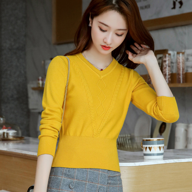 Autumn/winter new sweater V-neck sleeve headshirt ladies high-waisted top short long-sleeved bottom line clothing small knit sweater