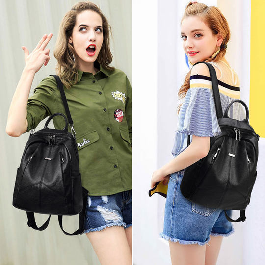 Shoulder bag female Korean version of 2021 new soft leather ladies travel backpack casual wild fashion street trend bag