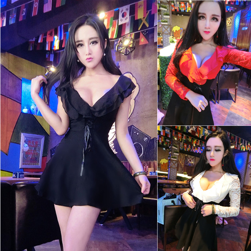 Sexy nightclub ladies 2017 new deep V-neck low-cut was thin strap halter long-sleeved dress anchor clothing