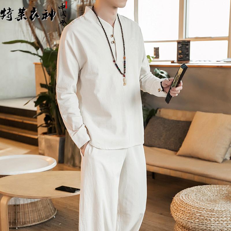 Китайский ветер мужской лен установите мужчина ретро ветер вышивка костюм два рукава утолщённый с дополнительным слоем пуха китайский стиль китайский одежда