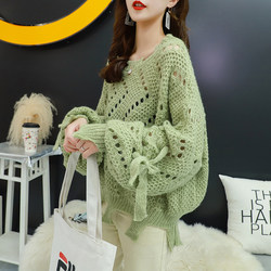 Early autumn thin sweater women loose outer wear lazy style 2020 new autumn very fairy hollow knit sweater top