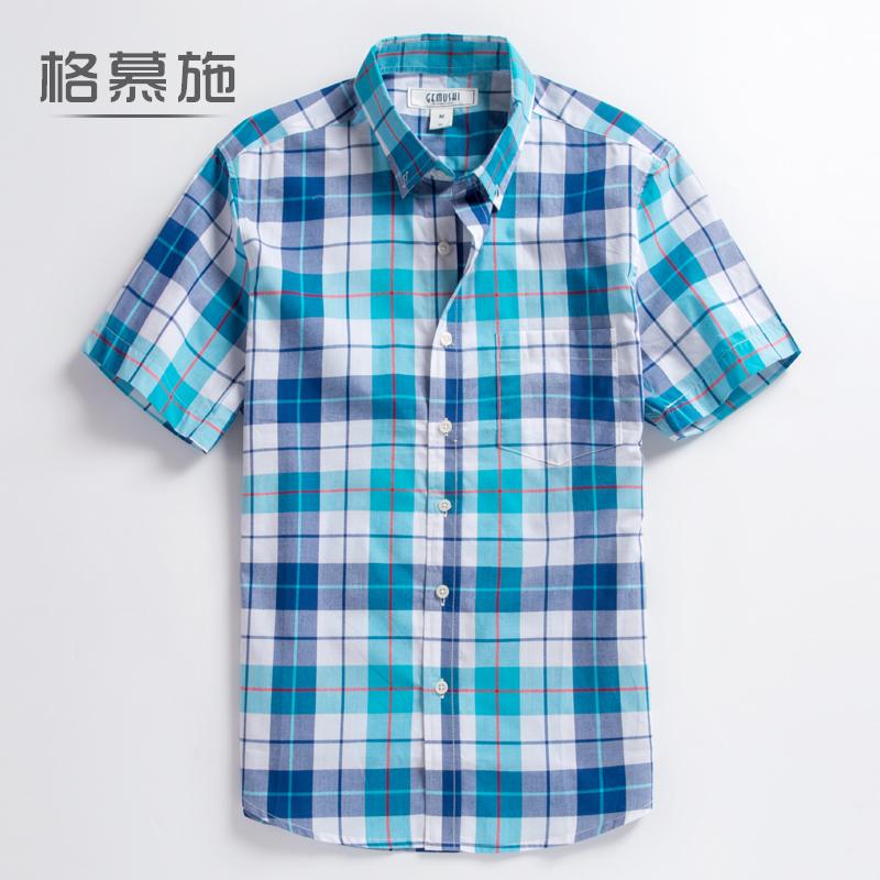 夏季短袖衬衫男青年薄款格子纯棉青春流行休闲透气凉大码半袖衬衣