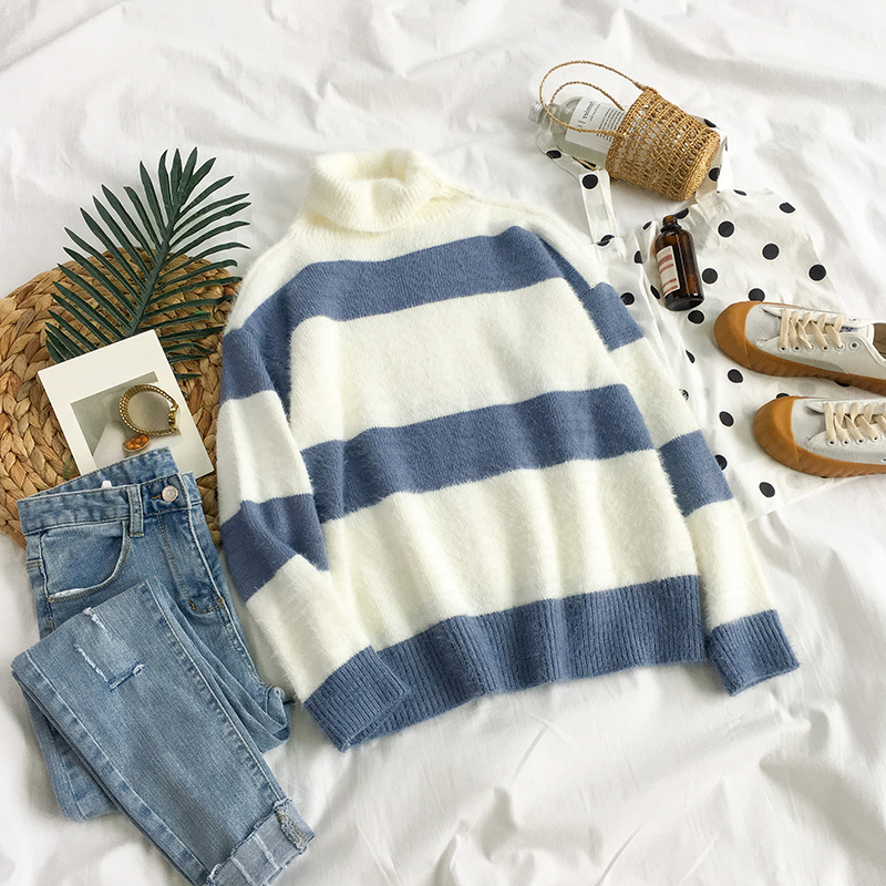 Black milk girl autumn 2018 new Korean version of the small fresh striped student high collar long-sleeved sweater female loose winter