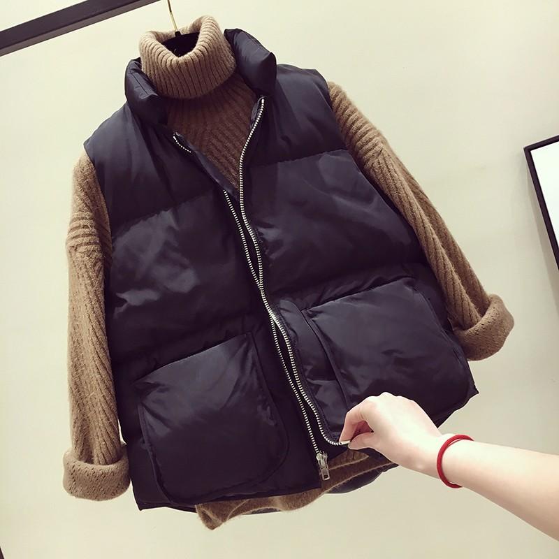 Chống mùa đặc biệt mùa đông sinh viên phụ nữ da đen thời trang hoang dã lớn túi phần ngắn dày phiên bản lỏng lẻo bông vest nữ