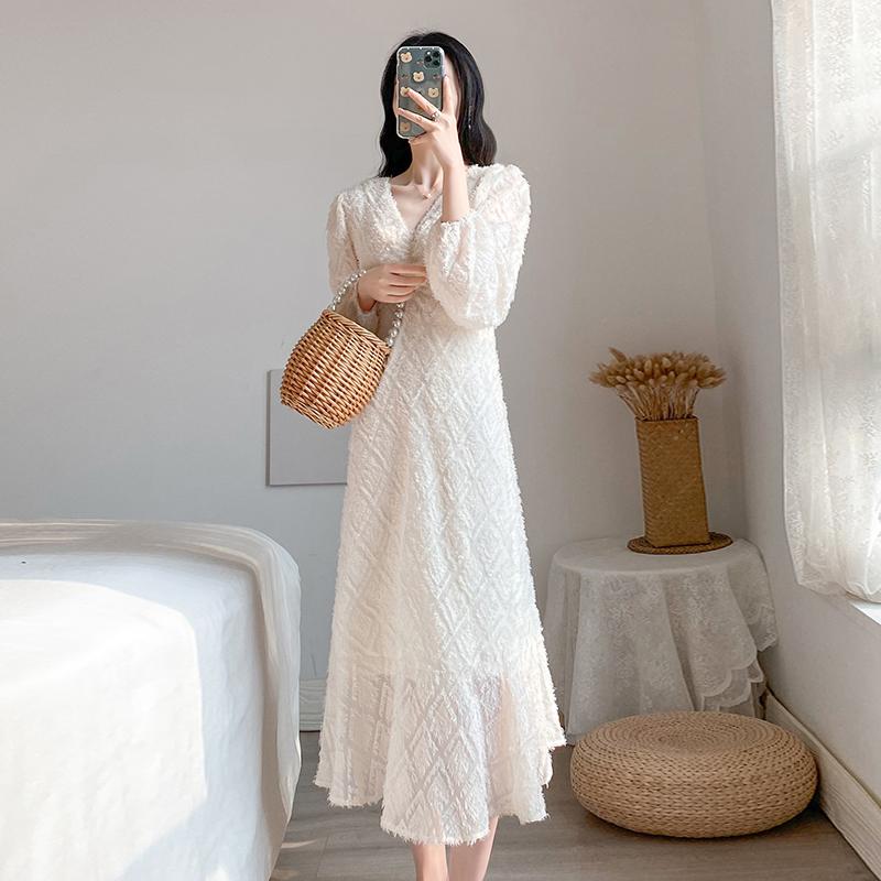 实拍#网红同款韩版V领系带皱褶流苏蕾丝泡泡袖荷叶边大摆裙连衣裙