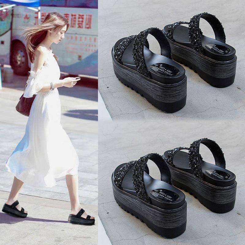 拖鞋松糕女厚底外穿时尚2019夏季新款百搭网红坡跟拖鞋增高凉水钻