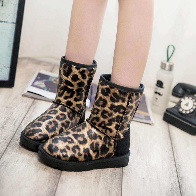 时尚皮面棉鞋性感靴雪地筒2019冬季新款厚底加绒豹纹防滑防水女中