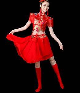 Chinese folk dance costumes for women drum clothing water drum dance performance clothing