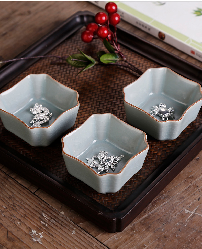 Open your porcelain pieces of silver, kung fu masters cup of pure manual teacup archaize crack glaze can raise large sample tea cup single CPU