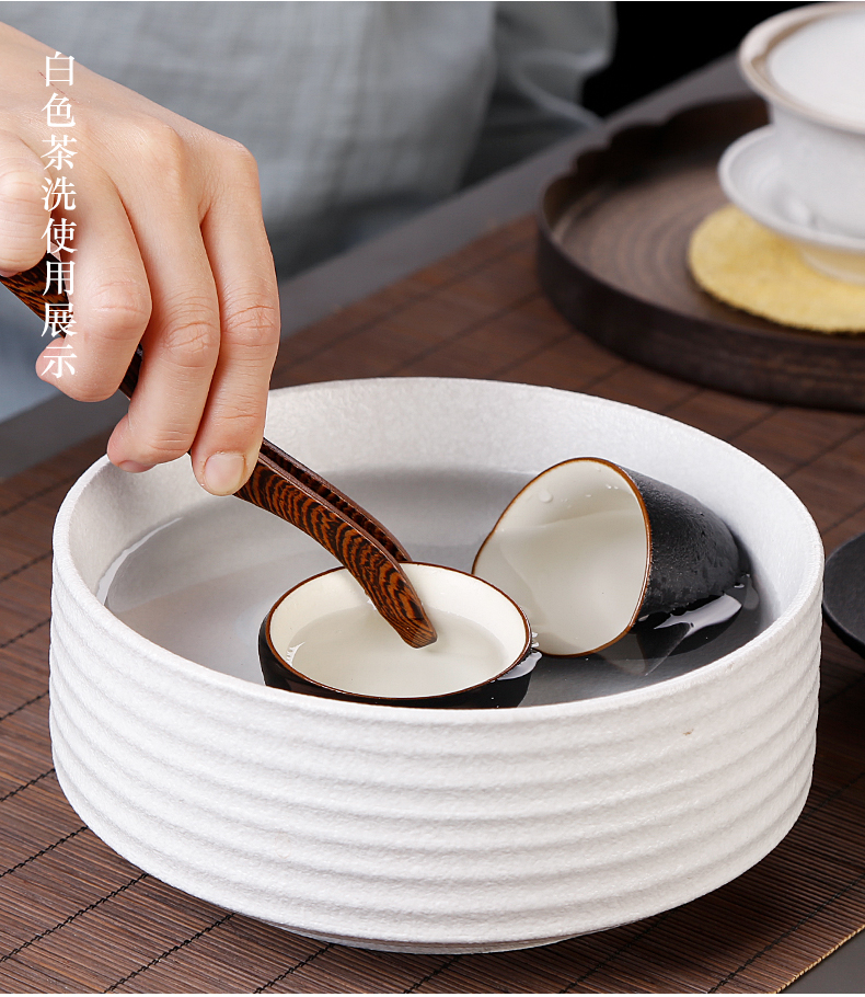 Japanese zen coarse pottery tea to wash large ceramic water jar restoring ancient ways of tea wash cup washing household kung fu tea set zero with black and white