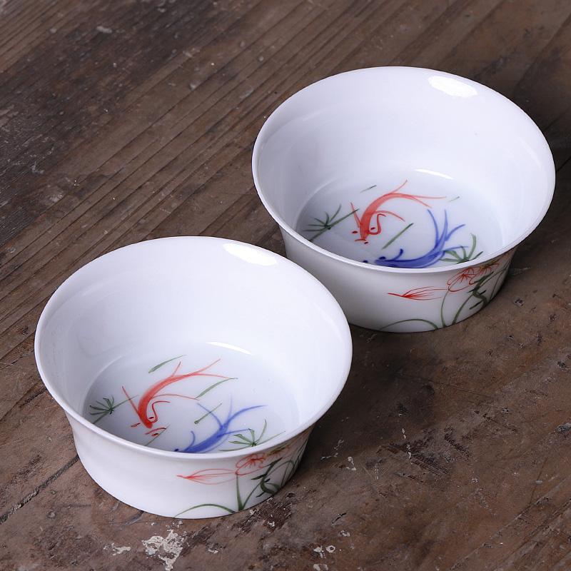 Ceramic hand - made noggin single household kung fu tea tea service master cup thin foetus move, single cup tea cup
