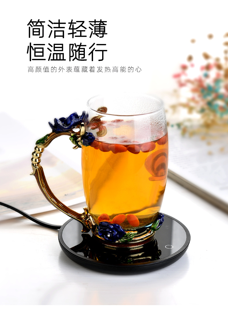 I and contracted tea ware controlled temperature heat insulation base 55 degrees thermostatic cup mat household hot milk cup mat