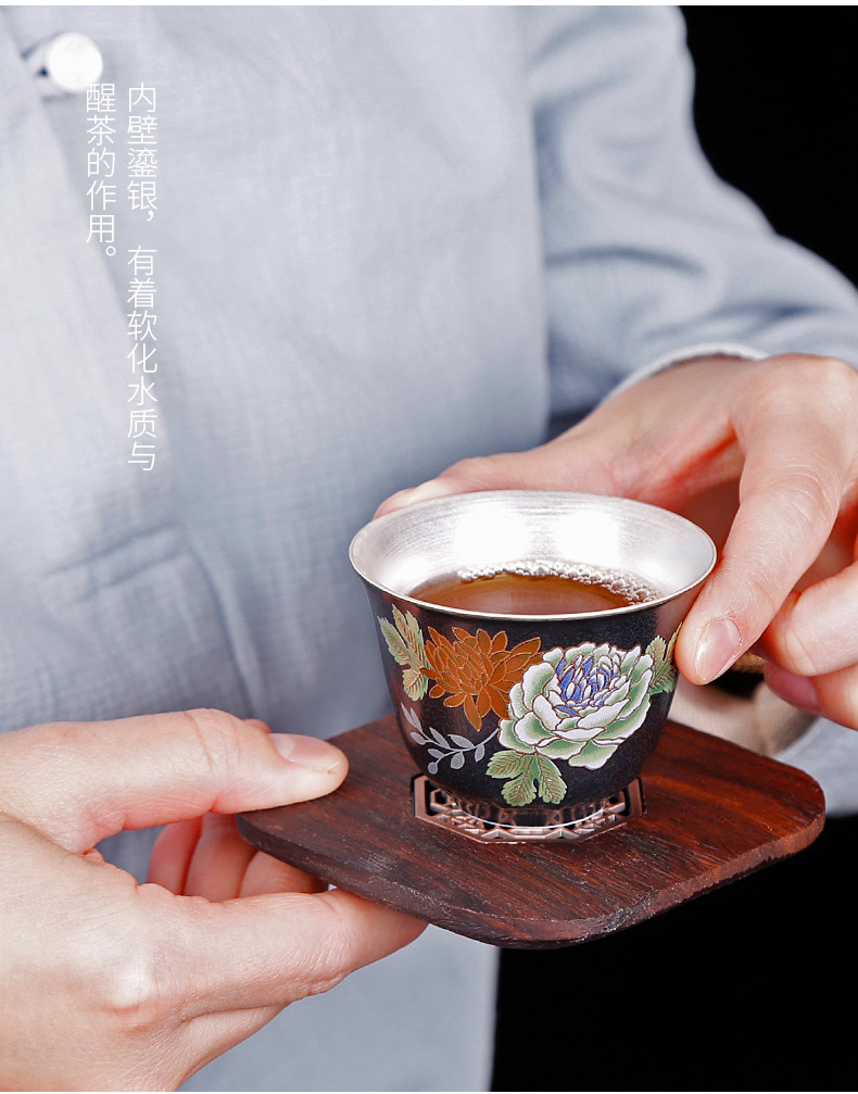 Tasted silver gilding ceramic cup a cup a single small grind arenaceous household kung fu silver restoring ancient ways rust glaze masters cup trumpet