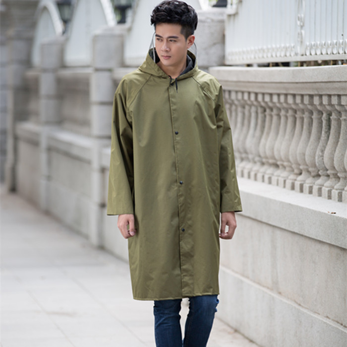 829de2ba86537 Zhuo dry thick canvas raincoat Adult One-Piece long raincoat military yellow  thick men and women outdoor labor protection wind and raincoat poncho