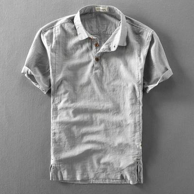 夏季男士亚麻短袖衬衫棉麻薄款复古透气套头半袖麻布短袖男衬衣潮