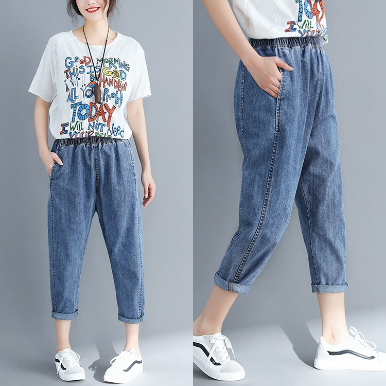 Pricing Don't Lower than 59  Spring 2019 Leisure Wild Loose Schoolgirl Cropped Pants Jeans Female