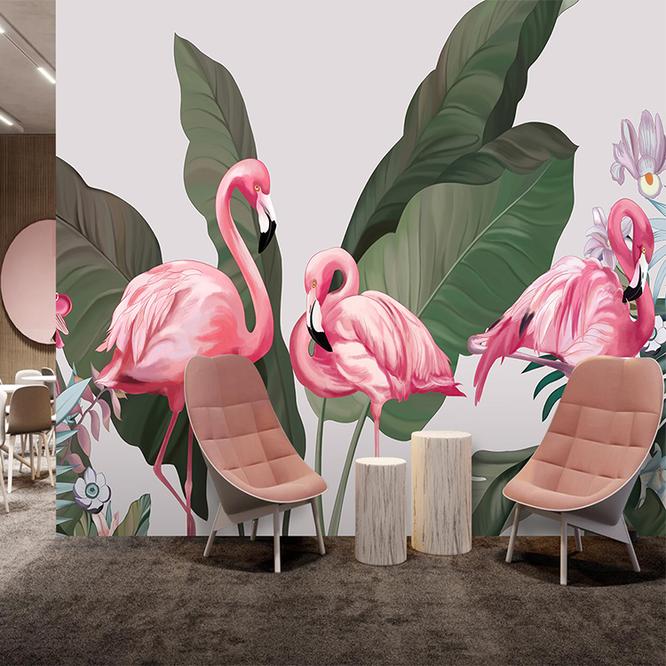 Southeast Asian banana leaf rainforest flamingo wall paper hand-painted painting bedroom living room TV background wall paper