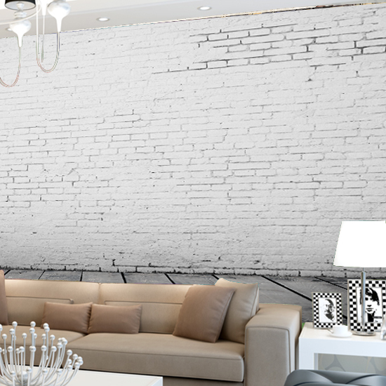 Nordic three-dimensional industrial wind white brick non-woven wallpaper retro nostalgic cafe clothing store background wallpaper